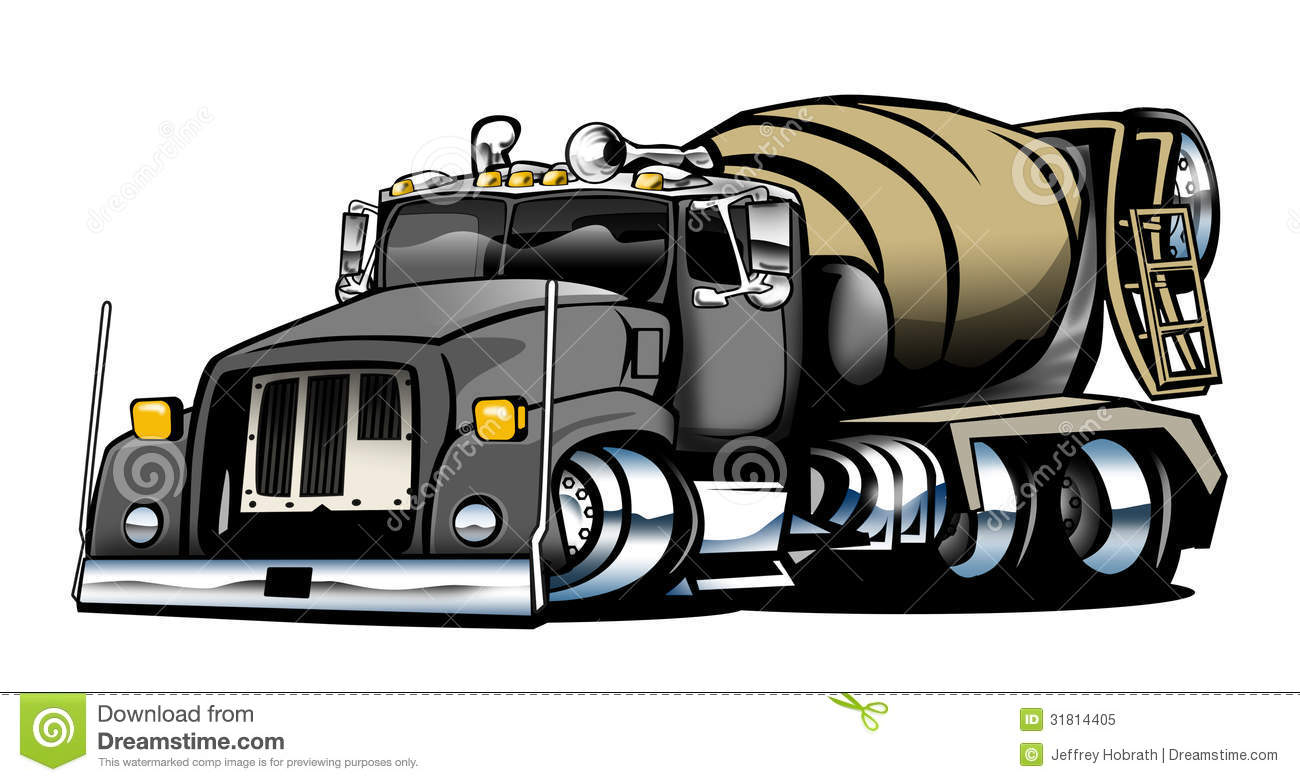 Showing post & media for Cartoon concrete truck drawing.