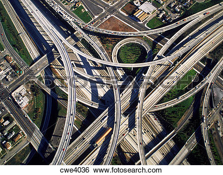 Stock Images of Aerial view of freeway interchange in Los Angeles.
