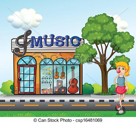 Clip Art Vector of A young girl in front of the music store.