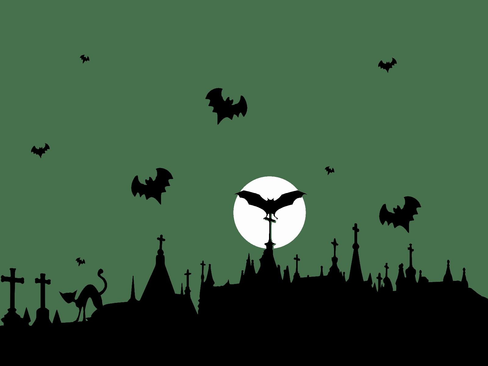 Cementerio y Murciélagos Voladores PNG transparente.