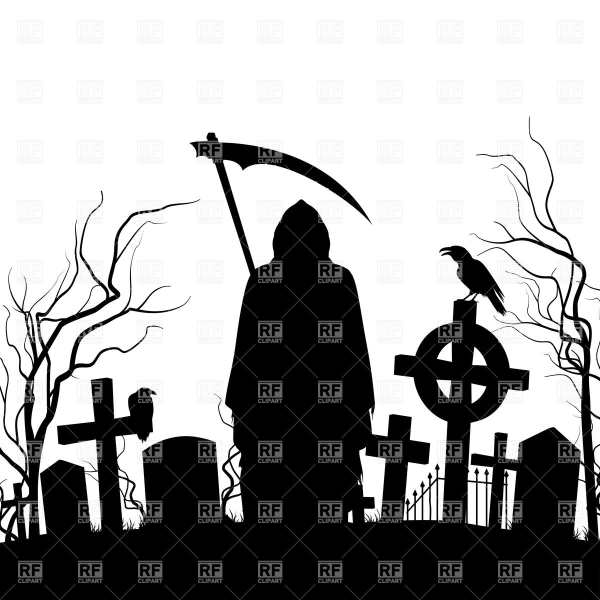 Silhouette of the grim reaper and cemeteries Vector Image #35600.