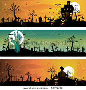 Art Image: Three Halloween Banners Showing Cemeteries and a.