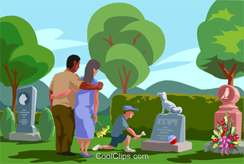 visiting a grave, paying respects Royalty Free Vector Clip Art.