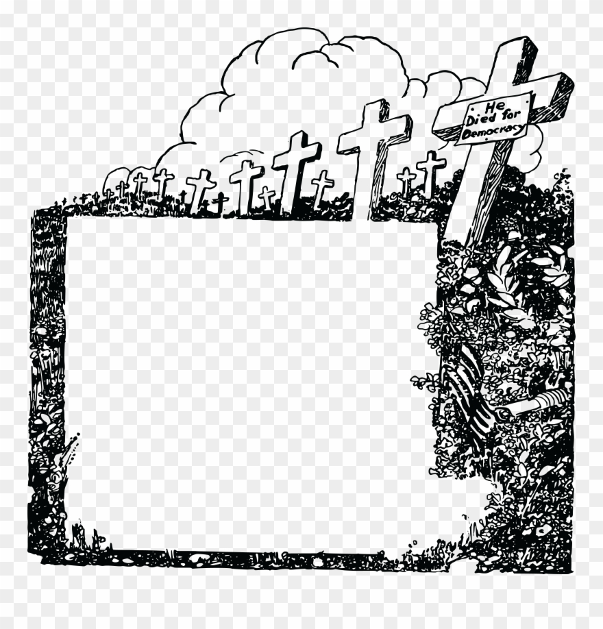 Free Clipart Of A Black And White Cemetery Of Soldiers.