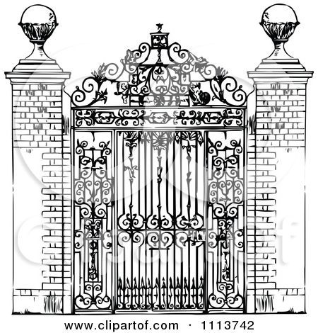 Wrought Iron Gates Engraving.