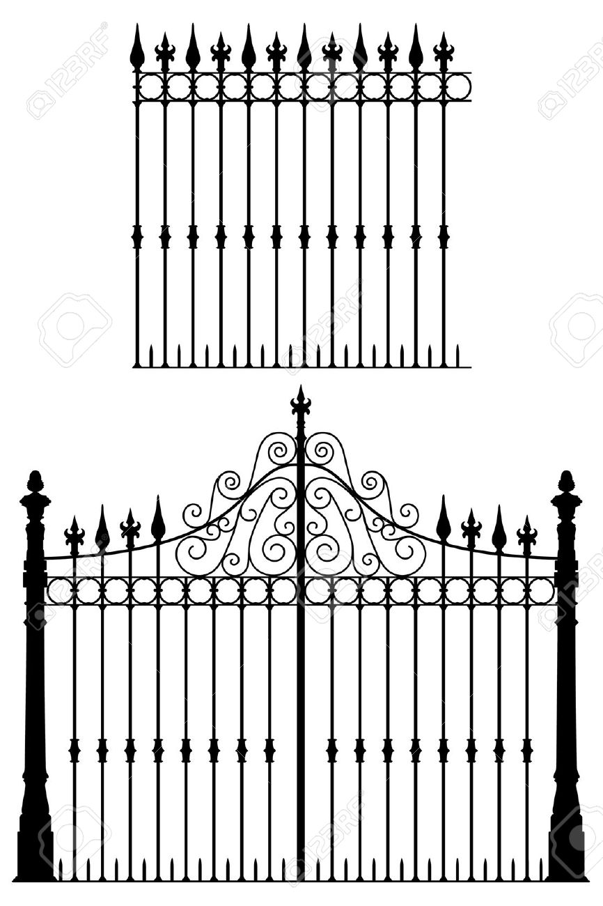 Wrought Iron Gate And Modular Fences Royalty Free Cliparts.