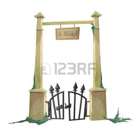 Graveyard gate clipart.
