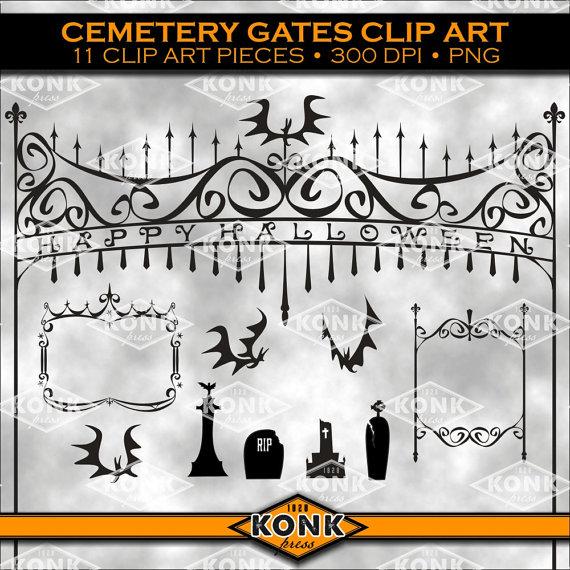 11 Digital Halloween clipart designs Cemetery Gates by KonkPress.