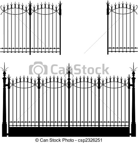 Vector Clip Art of Gate and Fence.