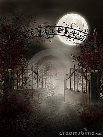 Cemetery Gate Stock Illustrations.