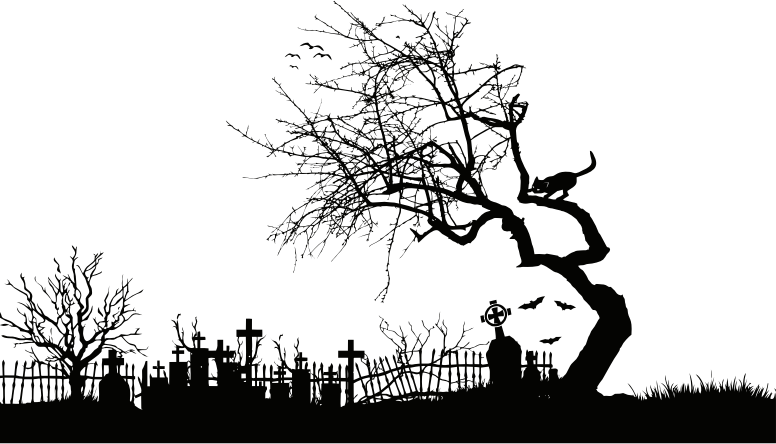 Download Free png Midnight Graveyard Silhouette Isolated.