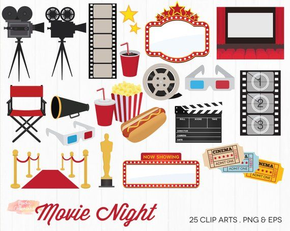 BUY 2 GET 1 FREE Movie Night Clipart.