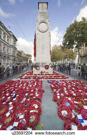 Stock Photo of England, London, Whitehall, Poppies laid at the.