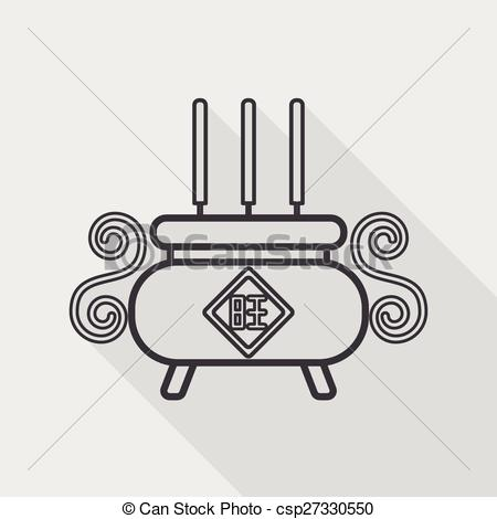 Clipart Vector of Chinese censer flat icon with long shadow,eps10.