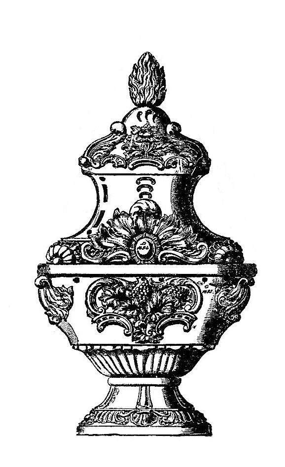 Antique Images: Religious Clip Art: Black and White Illustration.