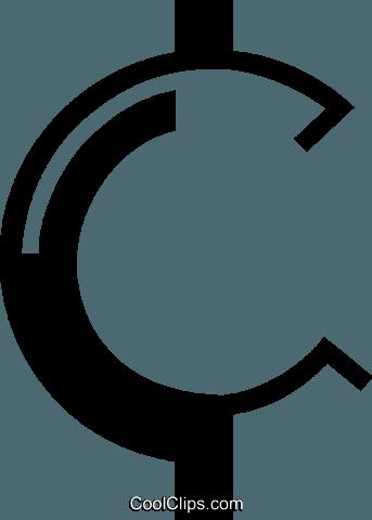 cent symbol Royalty Free Vector Clip Art illustration.