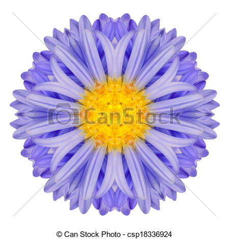 Clip Art of Blue Chrysanthemum Mandala Flower. Kaleidoscope of.