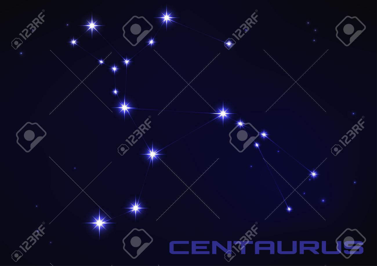Vector Illustration Of Centaurus Constellation In Blue Royalty.