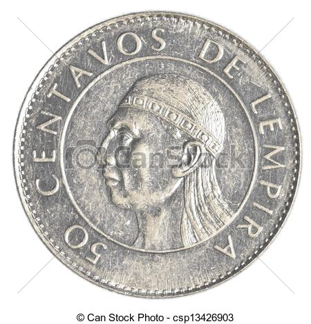 Stock Photography of 50 Honduran lempira centavos coin isolated on.