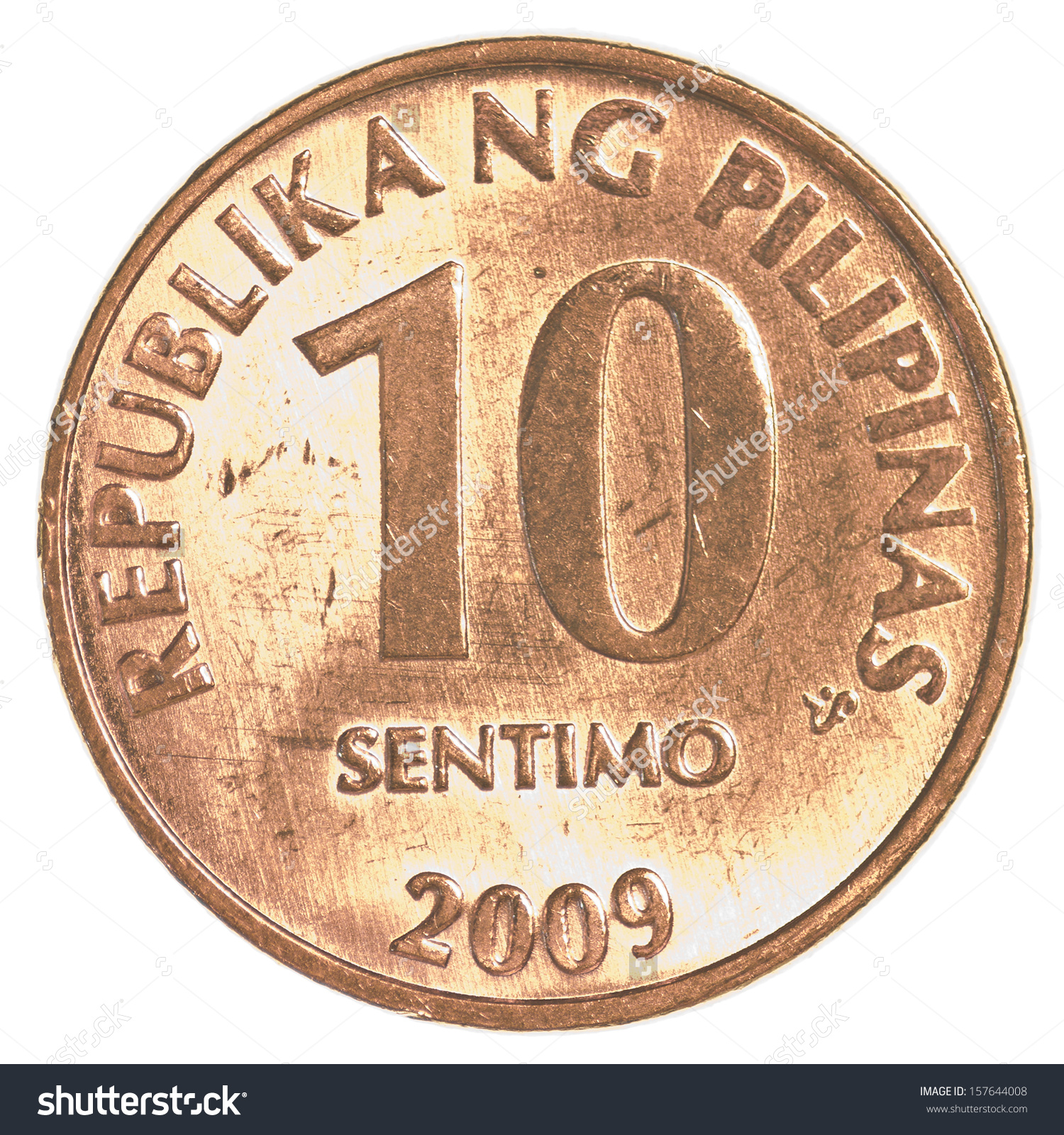 10 Philippine Sentimo Coin Isolated On Stock Photo 157644008.
