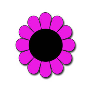 Clipart Picture of a Round, Pink Flower with a Black Center.