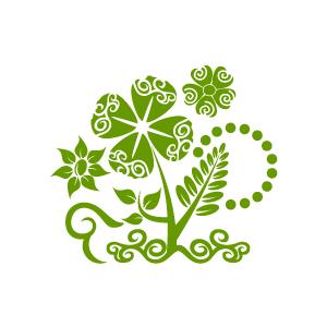 White flower green center clipart png.