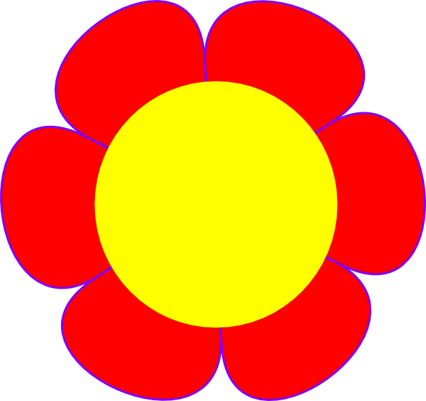 Red Flower Yellow Center Clip Art at Clker.com.