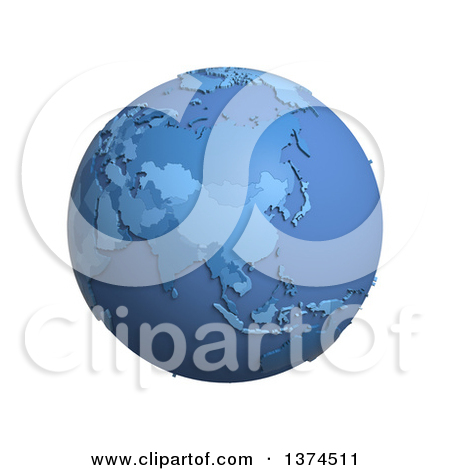 Clipart of a 3d Blue Political Globe with Extruded Countries.