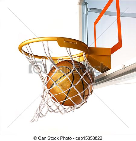 Clip Art of Basket ball centering the basket, close up view.