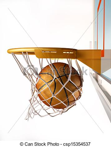 Drawings of Basket ball centering the basket, close up view.