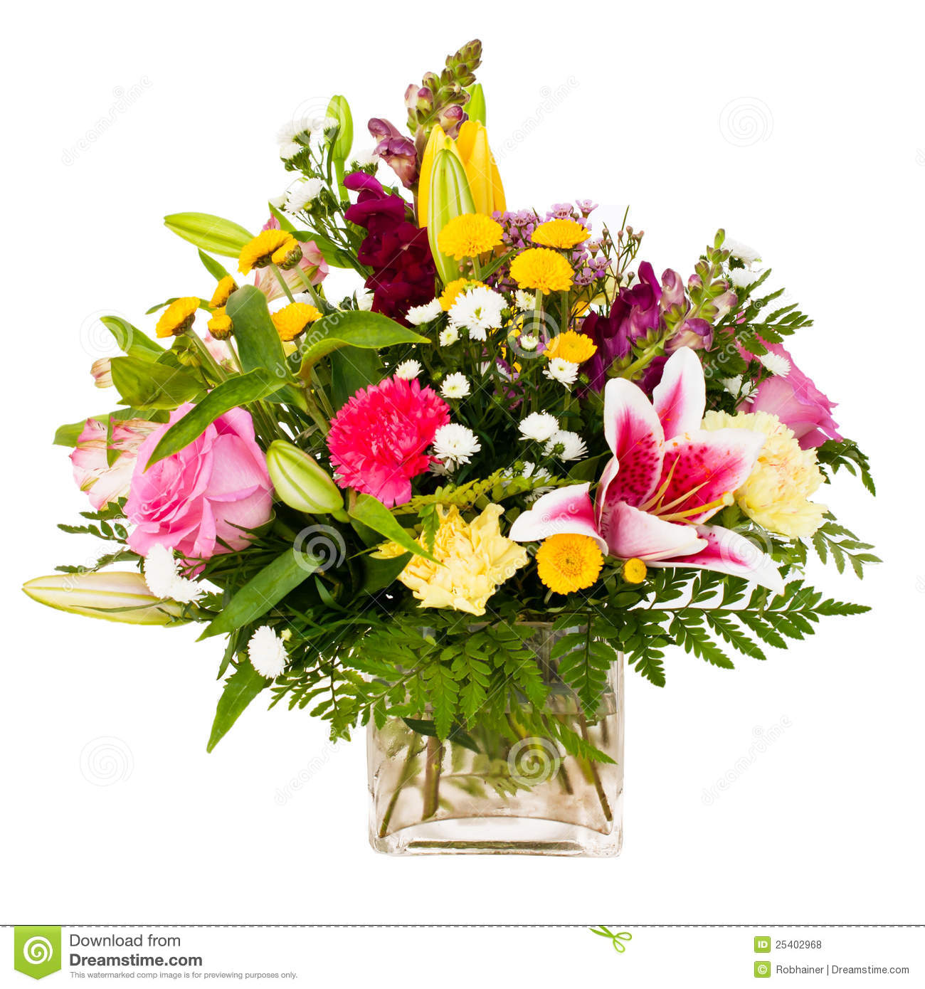 Colorful Flower Bouquet Arrangement Centerpiece In Vase Isolated.