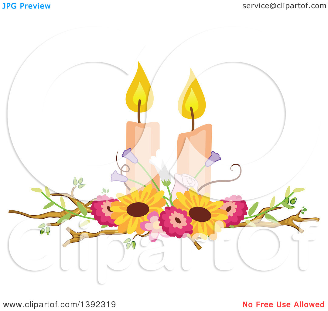 Clipart of a Rustic Themed Wedding Candle and Flower Table.