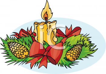 Royalty Free Clipart Image: Christmas Holiday Centerpiece of Pine.