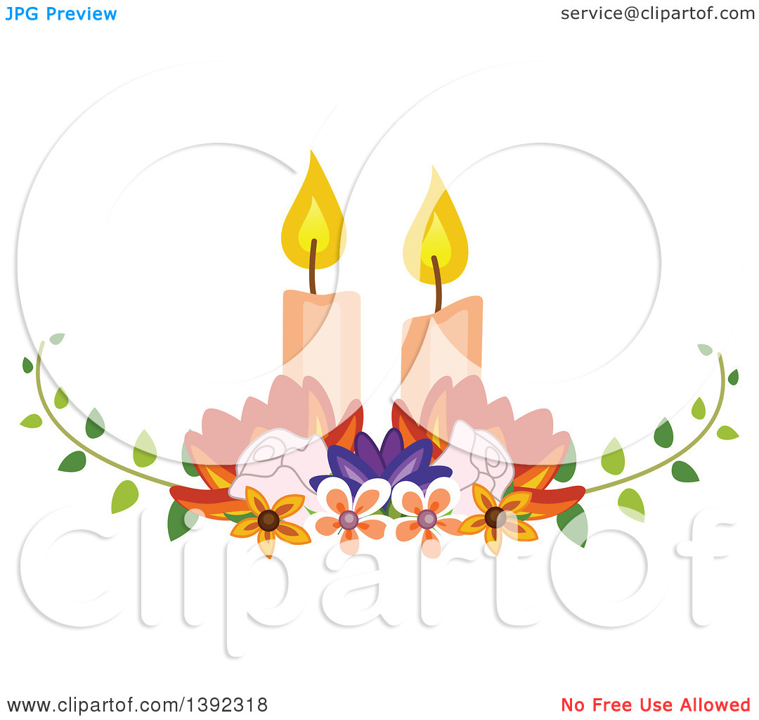 Clipart of a Garden Themed Wedding Table Centerpiece with Candles.