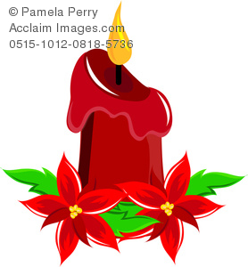 Clip Art Illustration of a Christmas Candle Centerpiece With.