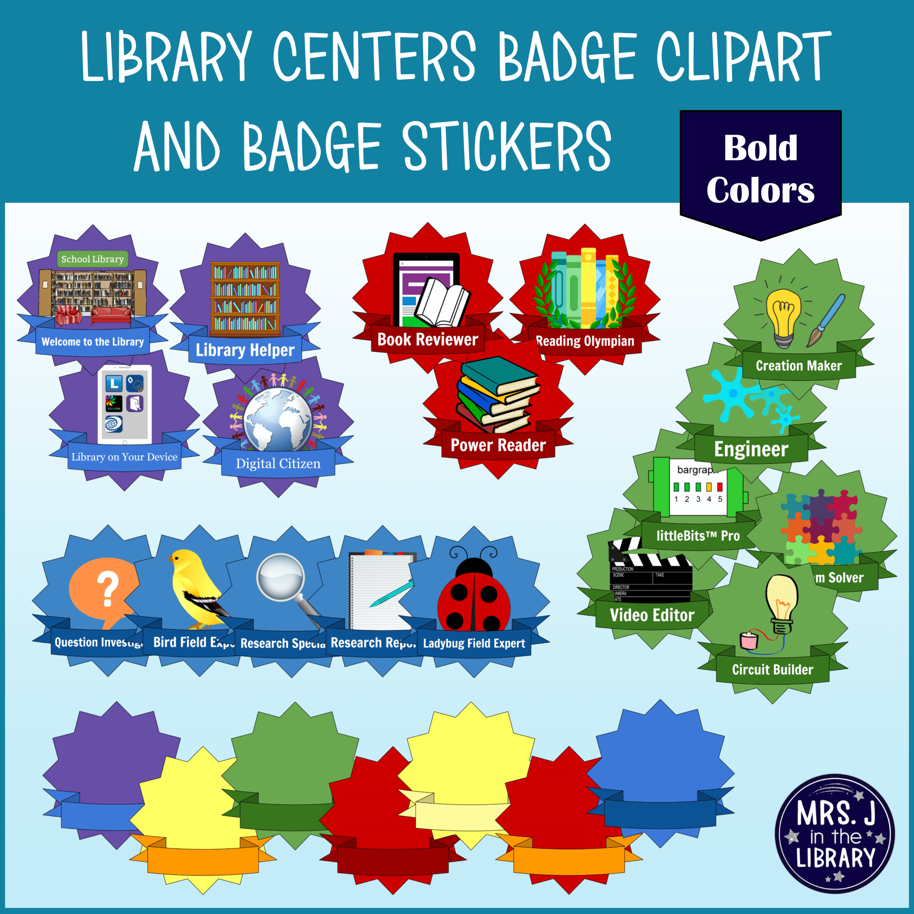 Library Centers Badges Clipart and Printable Stickers.