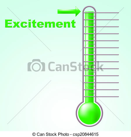 Clipart of Excitement Thermometer Means Centigrade Thrill And.