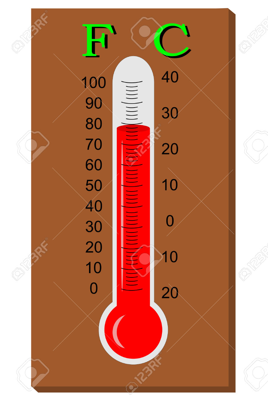 A Thermometer With Celsius And Fahenheit Royalty Free Cliparts.