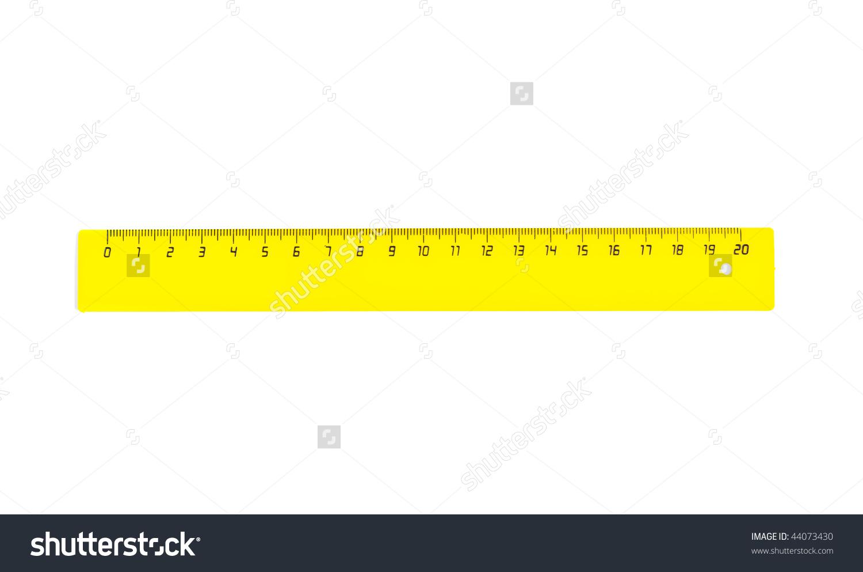Horizontal Yellow Twenty Centimetres Ruler Isolated Stock Photo.
