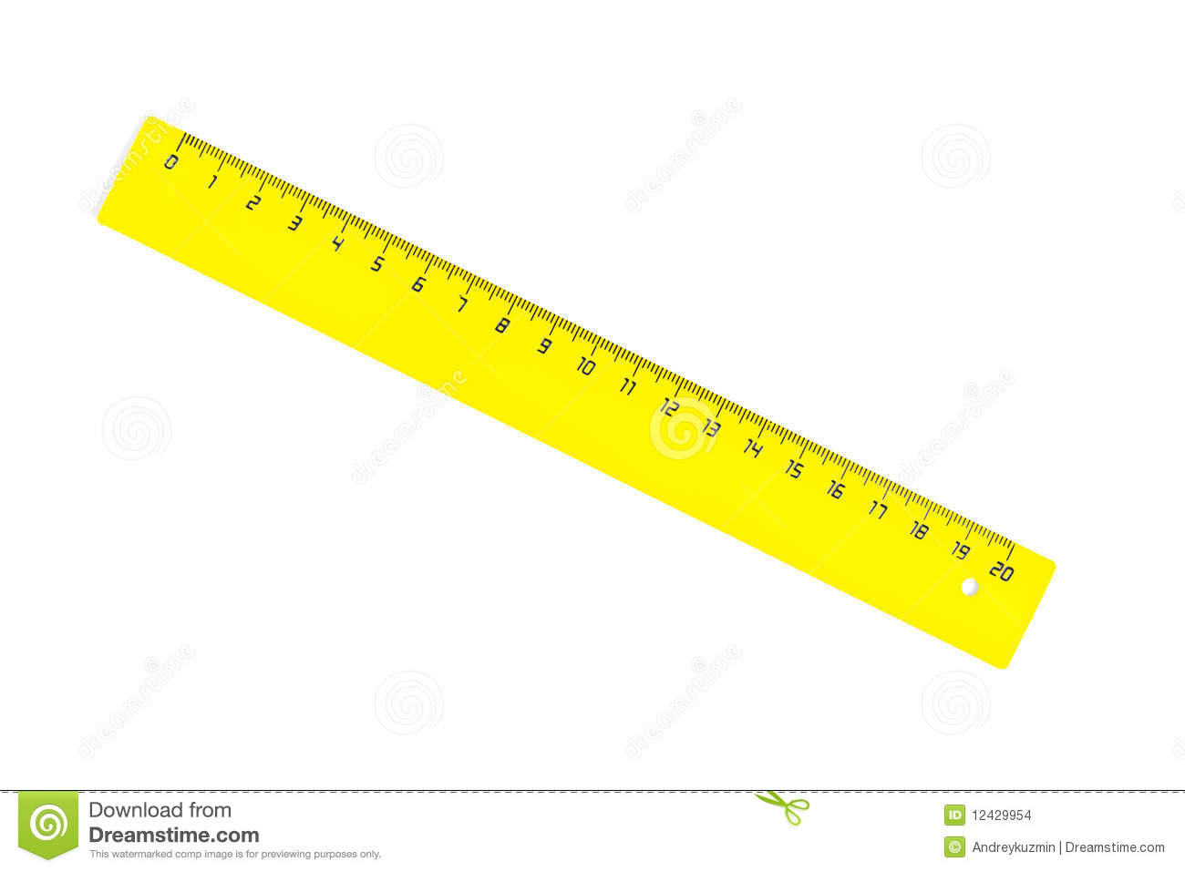 Diagonal Yellow Twenty Centimetres Ruller Isolated Stock Images.