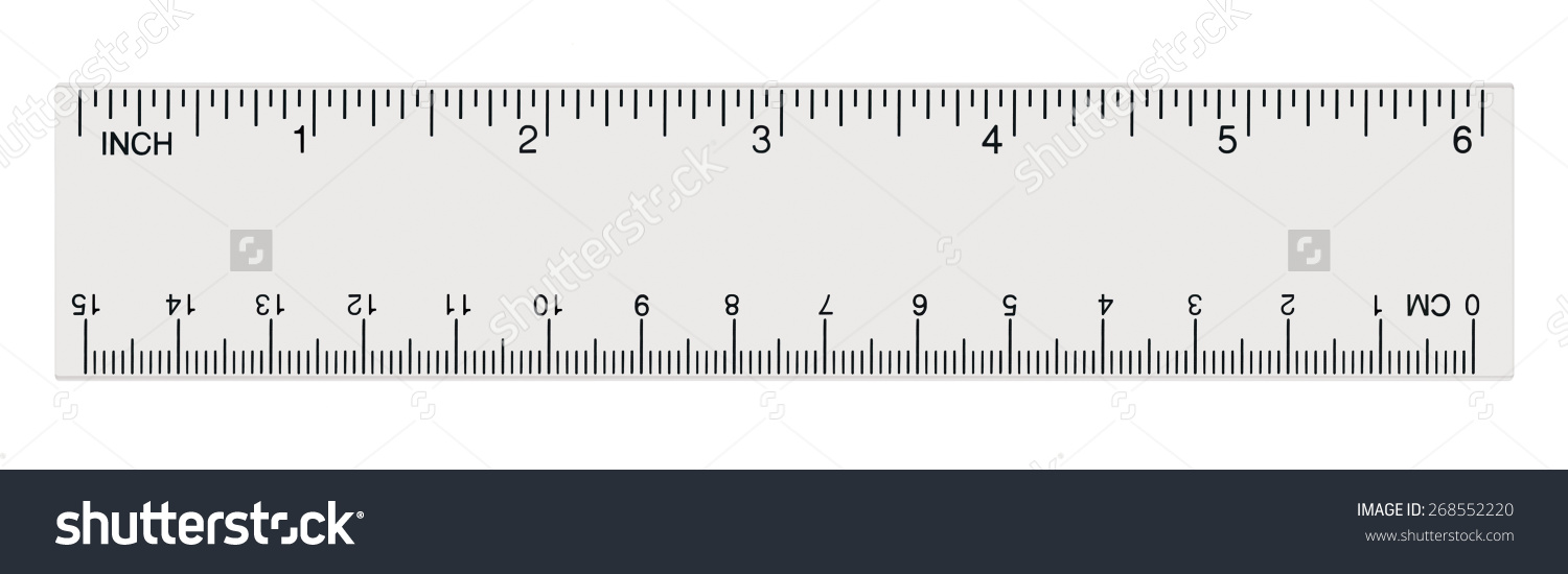 White Transparent Ruler Isolated Inch Centimetre Stock Photo.