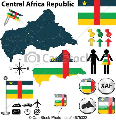 Vectors of Map of Central Africa Republic.