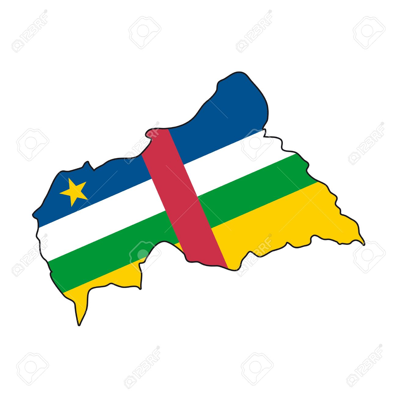 Map Flag Central African Republic Royalty Free Cliparts, Vectors.