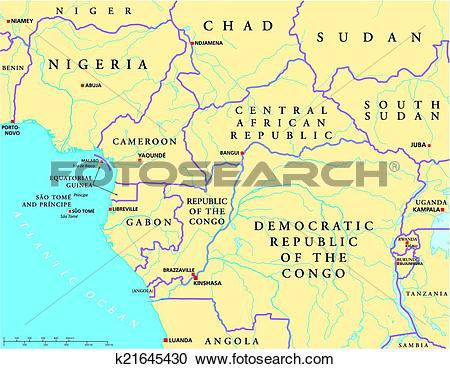 Clipart of West Central Africa Political Map k21645430.