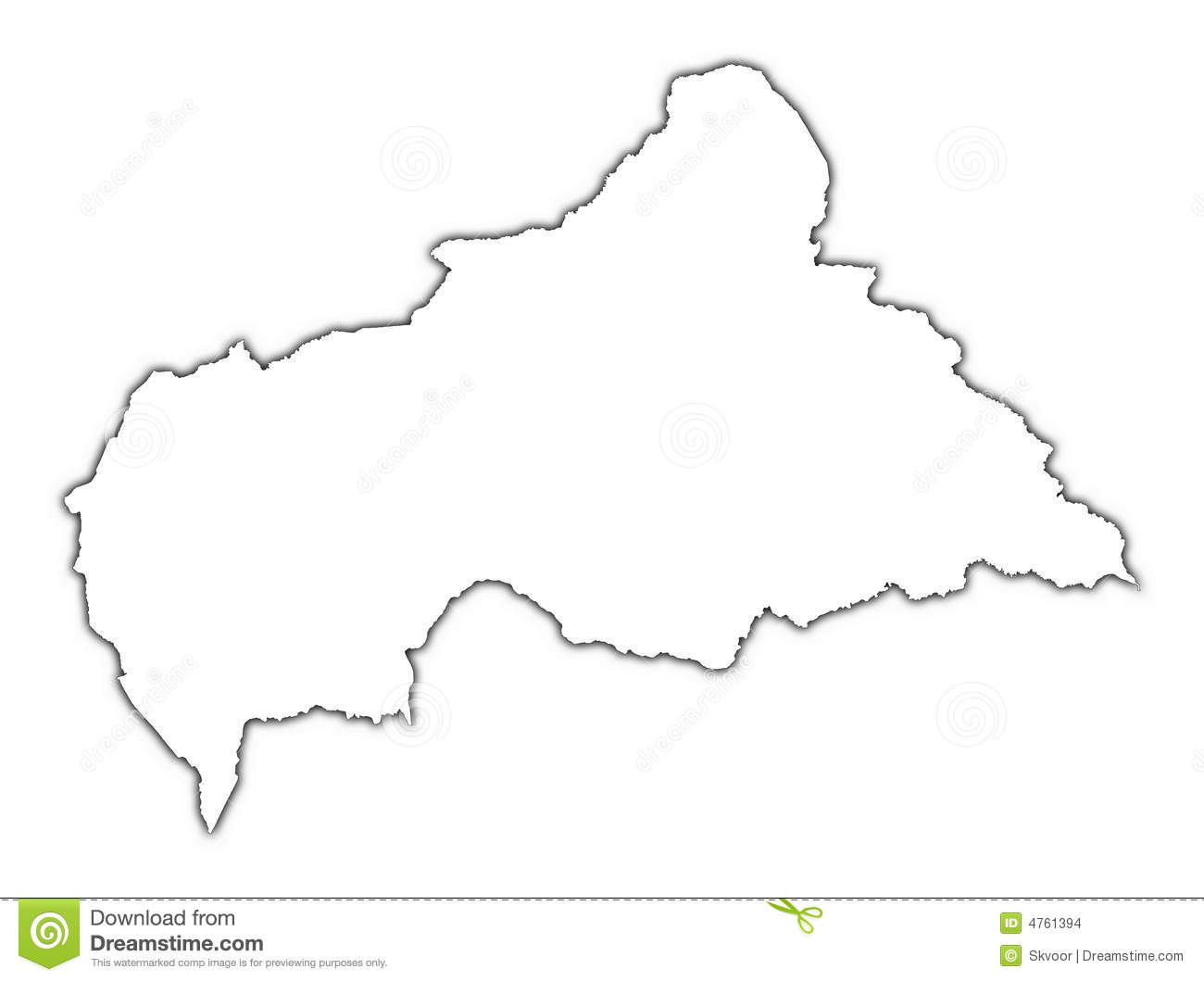 Central african republic black and white clipart.