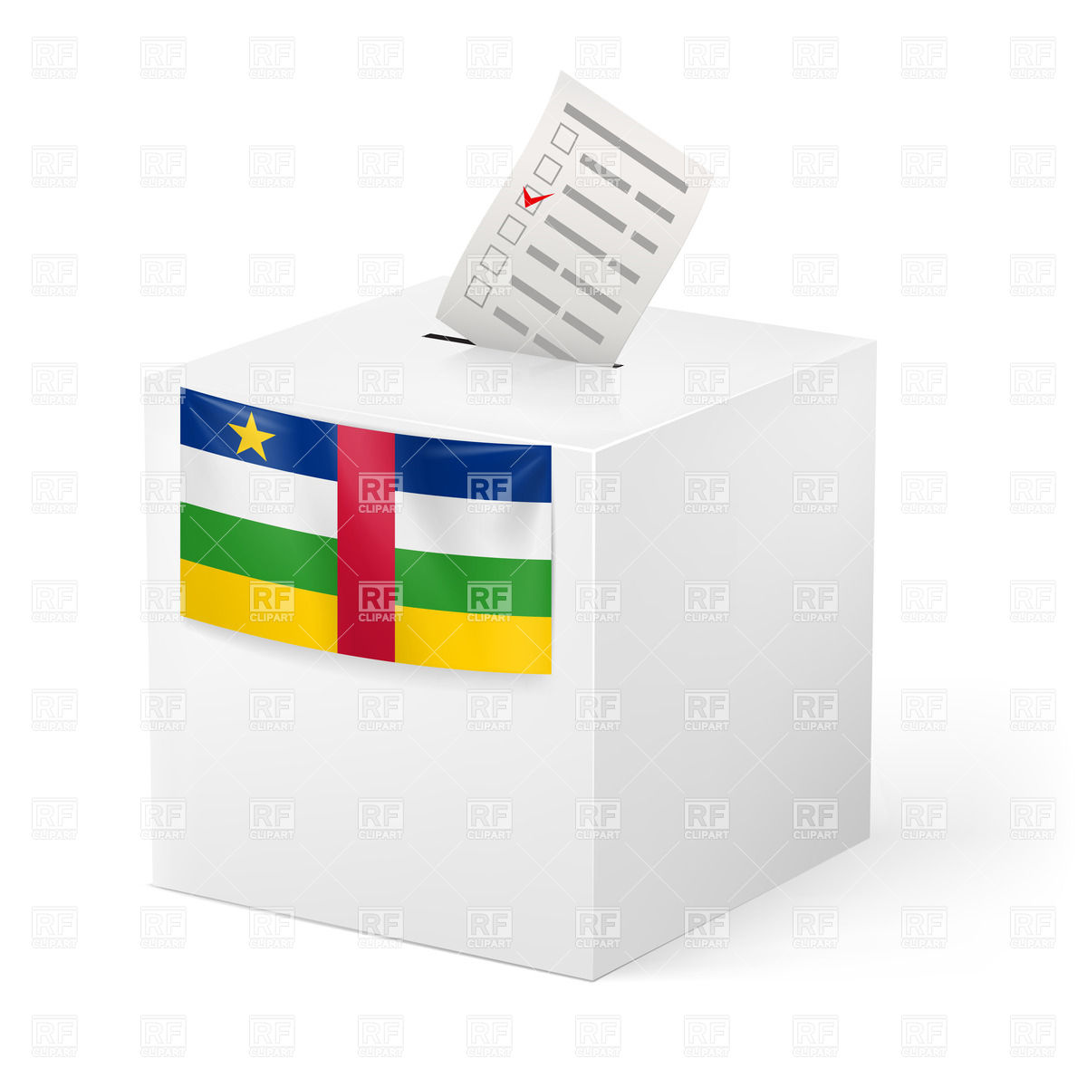 Election in Central African Republic: ballot box with voting paper.