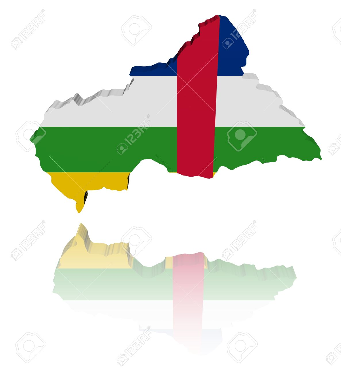 Central African Republic Map Flag Illustration Stock Photo.
