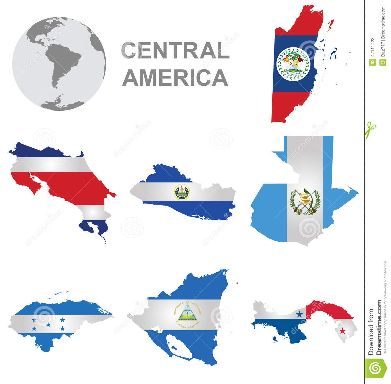 Central American Countries Stock Illustration.