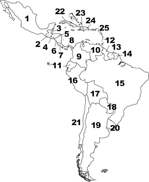 Map of central america clipart black and white.