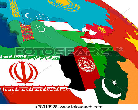 Stock Illustration of Central Asia on 3D map with flags k38018928.